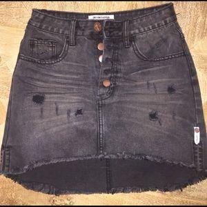 One X One Teaspoon Black Denim Skirt